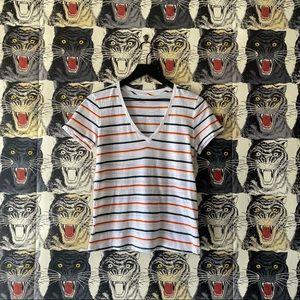 Madewell Rainbow Stripe V-Neck T-Shirt